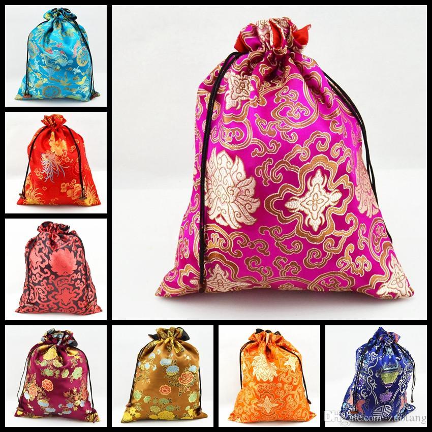 Las mujeres decorativas de lujo cubren los bolsos de lazo del cordón con la bolsa de empaquetado impresa reutilizable de la seda forrada 50pcs / lot Color de la mezcla que envía libremente