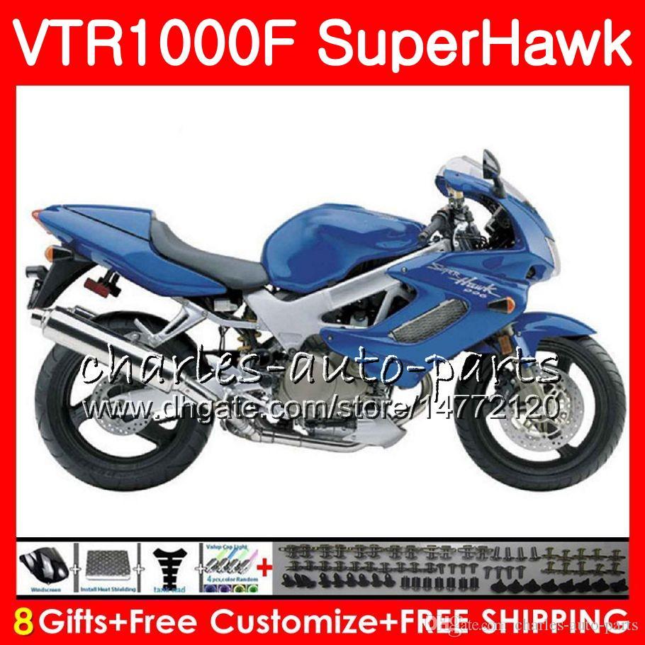 Corpo per HONDA SuperHawk blu lucido VTR1000F 1997 1998 1999 2000 2002 2003 2004 2005 91NO60 VTR 1000F 97 98 99 00 01 02 03 04 05 Carenatura