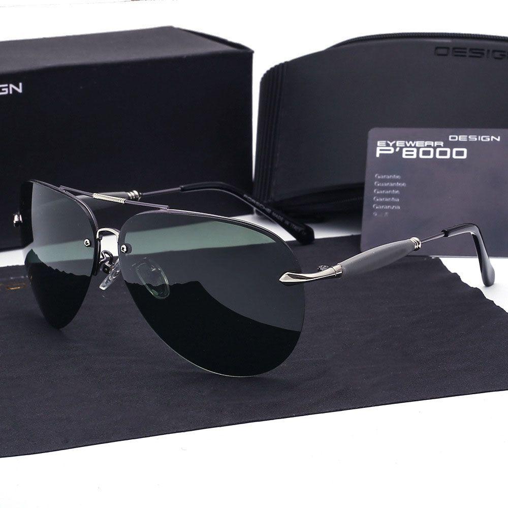 Marka tasarımcısı Polarize Güneş Gözlüğü erkekler Metal Alaşım Sürüş Güneş Gözlükleri Kare Vintage óculos de sol polarizado Askeri Eyewears kılıfları ile