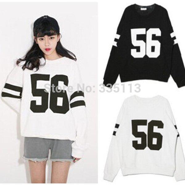 2015 جديد إمرأة هودي طباعة 56 أسود أبيض البلوز طويلة الأكمام فضفاضة بلوزة المرأة الكورية نمط هوديس قمم