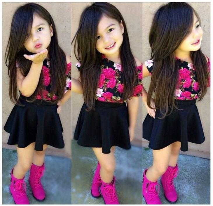 Baby Girls Summer Sets Outfits 2015 Children Short Sleeve Floral Printed T Shirt Tops Black Tutu Skirt 2pcs Kids Clothing Cute Girl Suit 2018 From