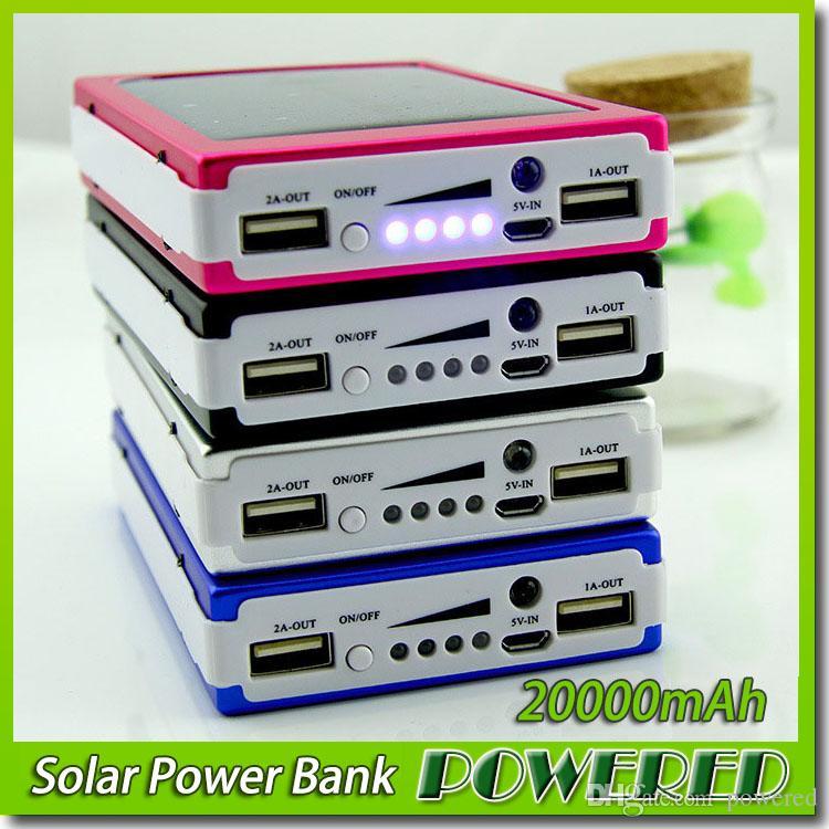 Groothandel -new 20000 MAH Solar Battery Panel Externe Charger Dual 20000mAh Solar Charging Poorten 5 Kleuren Kies voor