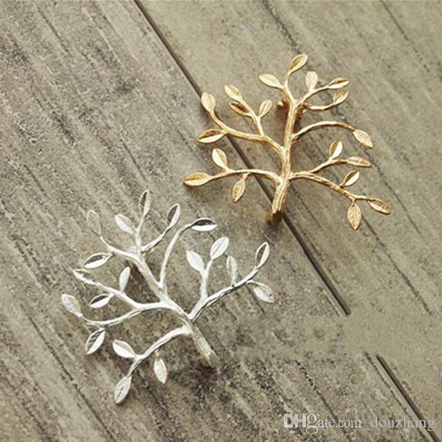 Unisex DIY Delicado Ramos Moda Ouro / Prata Broto de Árvore Pin Broche Homens Mulheres Collar Broche Pinos de Jóias Por Atacado 12 Pcs