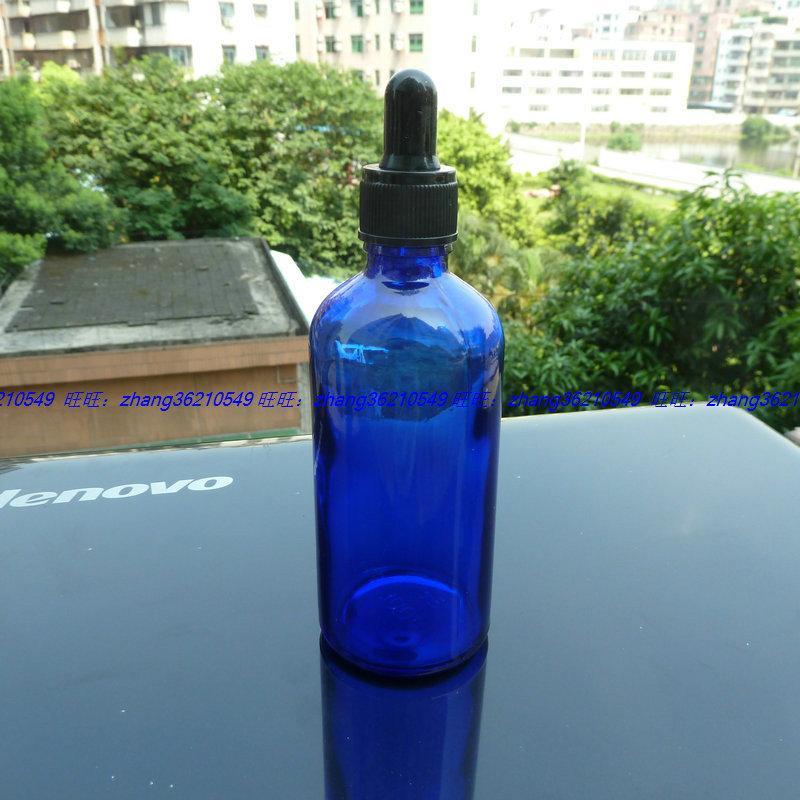 100ml 파란색 유리 에센셜 오일 병 검은 플라스틱 일반 dropper cap. 오일 바이알, 에센셜 오일 용기