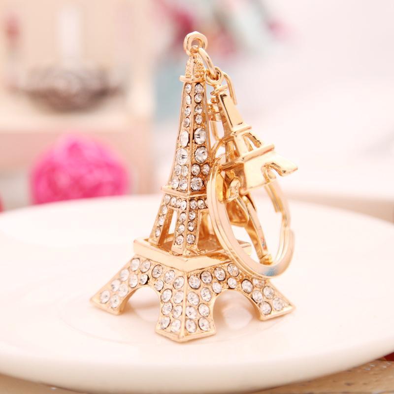الأزياء كريستال الذهب الحلي والمجوهرات برج ايفل الفرنسية تذكارية باريس المفاتيح حلقة كيرينغ الموجودة الزينة باريس برج ايفل