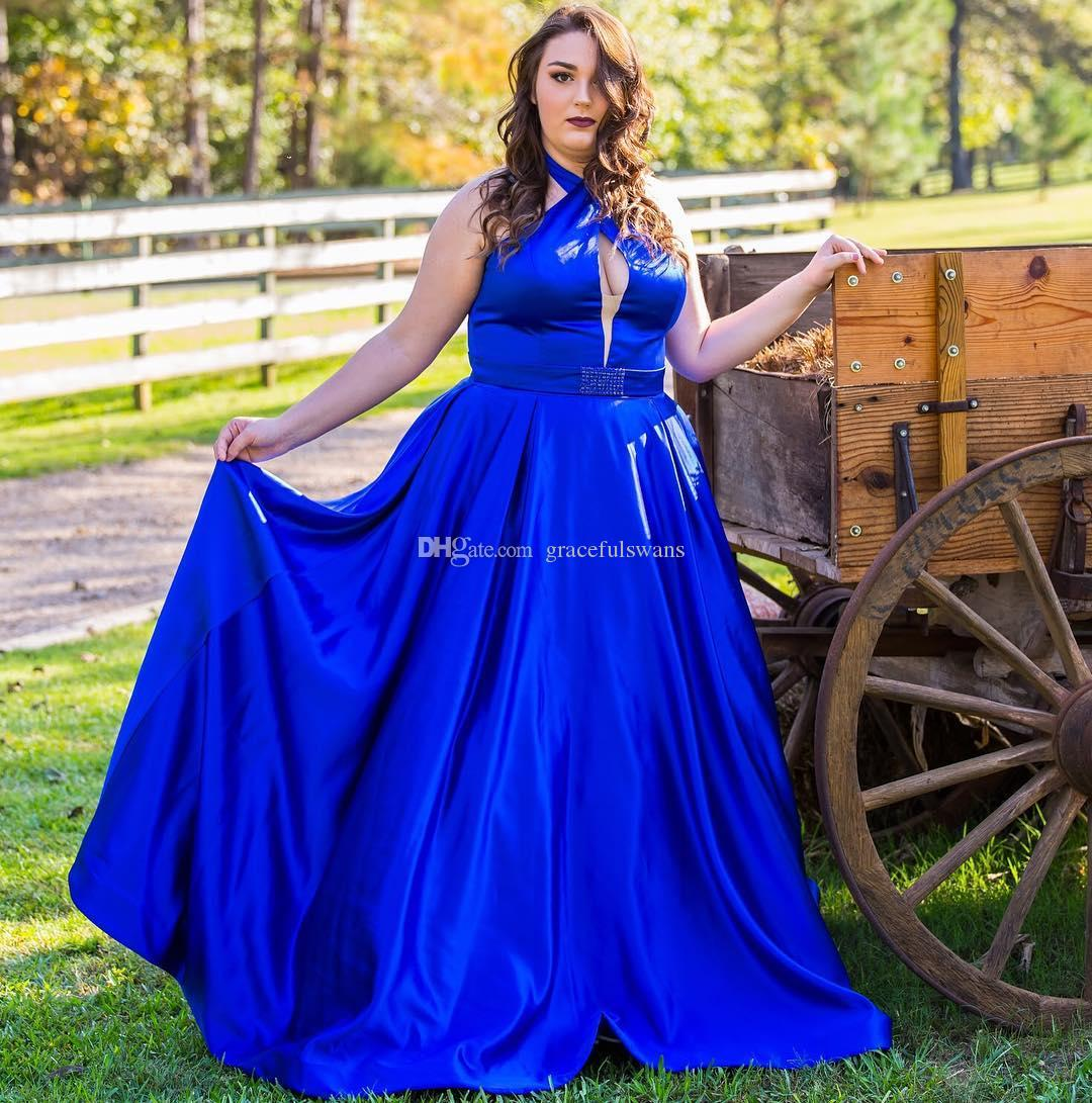 Halter Royal Blue Prom Dresses Long A Line Plus Size Girls Evening Party  Dresses Keyhole Front Satin Cheap Prom Gowns Formal Dress Shops Formal  Dress ...