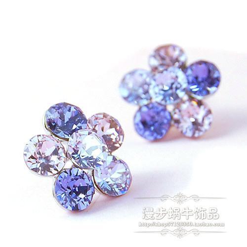 diamond flower lady's earings ( 1.7*2cm ) (woniu152)