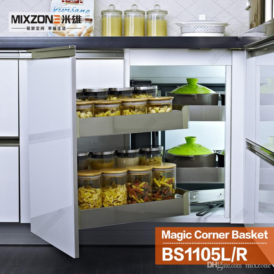2019 Eco Friendly Stainless Steel Kitchen Cabinet Storage Pull Out Magic  Corner Drawer Basket BS1105L From Mixzone, $361.4 | DHgate.Com