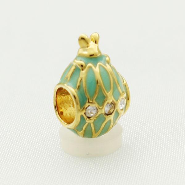 22 K chapeamento de ouro jóias Artesanato cores Enamel COELHO Faberge ovo charme Russion Egg Beads Serve para Pulseiras