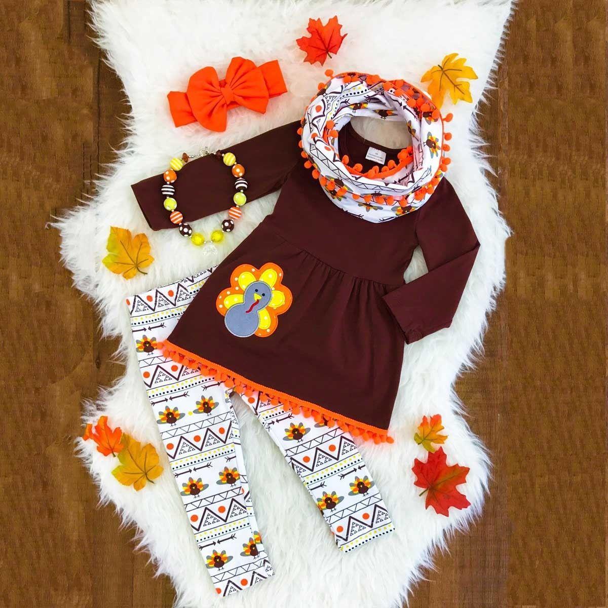 Día de Acción de Gracias Niños Niñas Ropa de bebé T-shirt Tops Vestido + Pantalones Largos Conjunto de Ropa para Niños Niñas Otoño Boutique