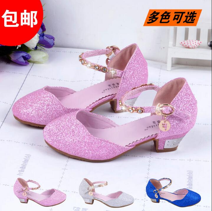 fd581c9a418 New 2015 Children Princess Sandals GirlsShoes High Heels Dress Shoes  PartyShoes For Girls Pink /Blue Silver Gold Kids Boots Leather Black  Leather ...