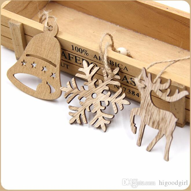 10 PCS Christmas Wooden Pendant Snowflakes&Deer&Tree Ornaments Xmas Tree Ornaments Christmas/Wedding Party Decorations Kids Gifts
