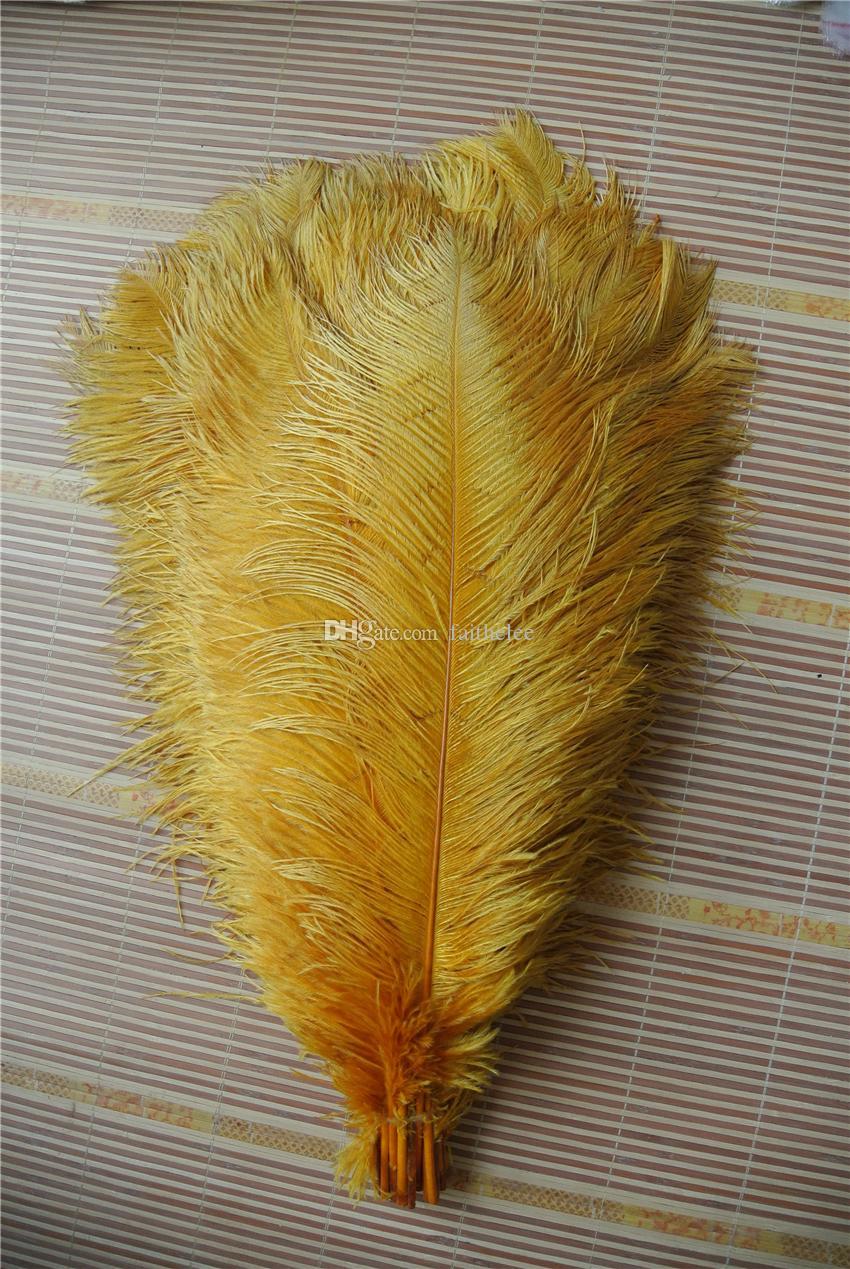 100pcs FREE SHIPPING / lot 16-18inch plume d'or plume d'autruche pour l'événement décoration pièce maîtresse de mariage partie offre un décor de fête