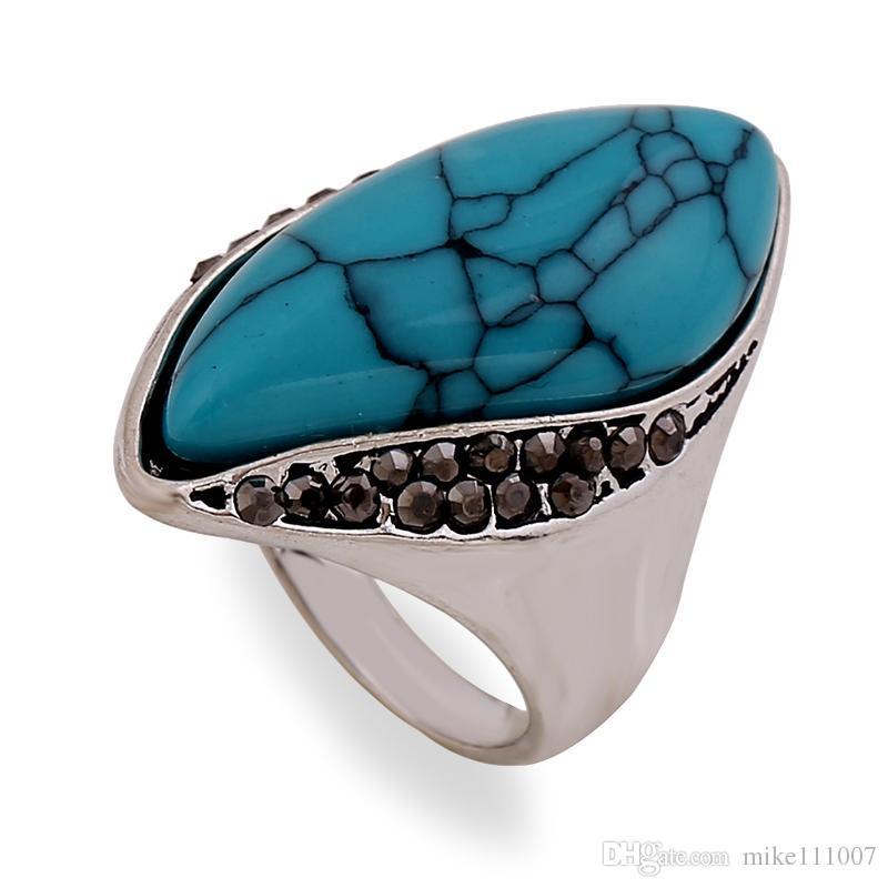Beaux bijoux grands anneaux pour femmes et hommes 2015 Nouvelles promotions de haute qualité anneaux de mode anneaux rock Un cadeau d'anniversaire Lady Turquoise Jewelry