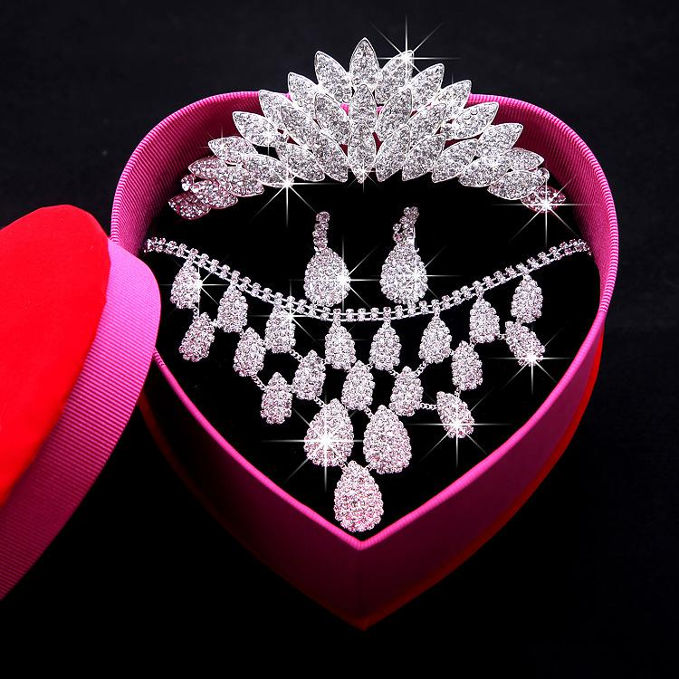 Luxury Beaded Rhinestone Bridal Tiara Necklace Earrings Jewelry 3 Sets Wedding Accessories For Wedding Evening Party