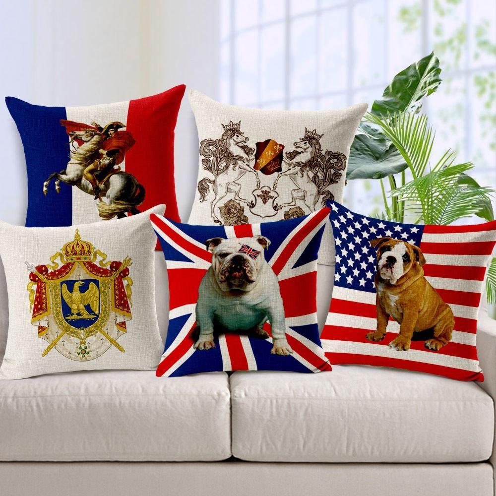 코튼 린넨 베개 케이스 영국 깃발 영국 크라운 나폴레옹 사자 불독 장식 베개 커버 빈티지 베개 커버 45x45cm