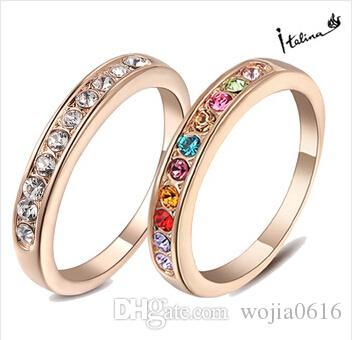 Italina Ny ankomstring för kvinna med Swarovski Crystal Stellux 18kgp Rose Guldpläterad # RG91645 Bröllopsringar