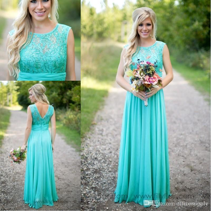 Fantasy Turquoise Bridesmaid Dresses Sheer Jewel Neck Lace Top Chiffon Long Maid of Honor Wedding Party Dresses BA1513