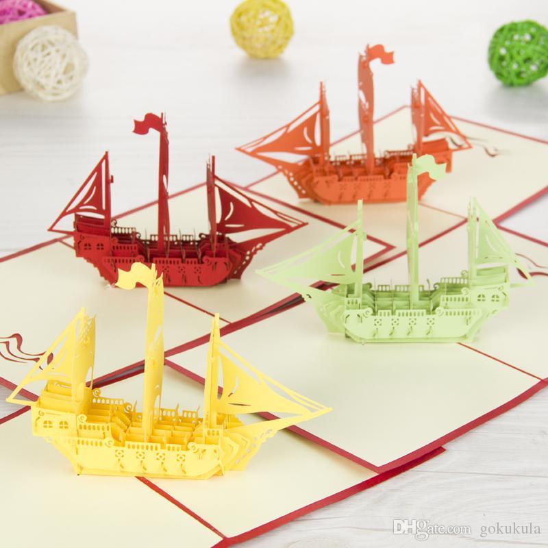 """خمر """"قارب الإبحار"""" اليدوية kirigami اوريغامي 3d المنبثقة بطاقات المعايدة ل هدية عيد شحن مجاني"""