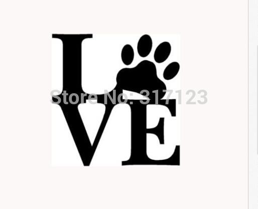 AŞK PAW Sticker Vinil Araba Pencere Çıkartması Sevimli Hayvan Pet Köpek Kedi Duvar Sanatı