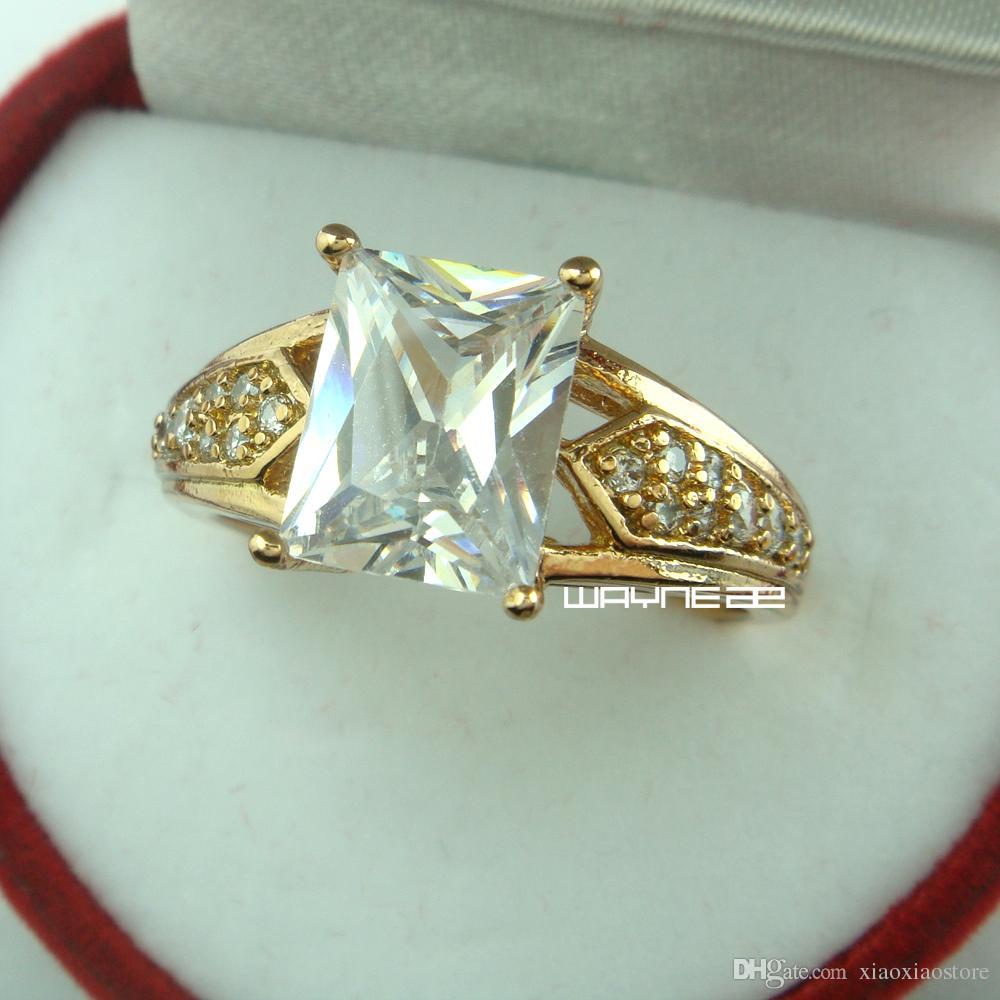 Anello di fidanzamento in oro bianco 18 kt con zaffiri bianchi, stile anni '80 - 8.5 (r207)
