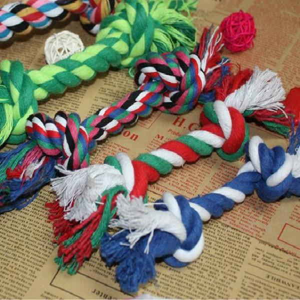 New Pets dogs supplies Cotton Chew Knot Toy Durable Braided Bone Rope 17CM