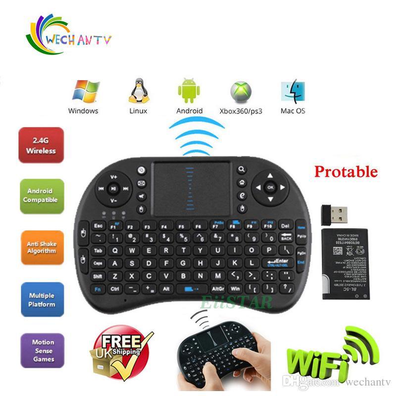 2018 i8 Tastiera wireless Tastiera QWERTY Fly Mouse Telecomando multimediale con Touchpad Gioco portatile per Android TV BOX Mini PC