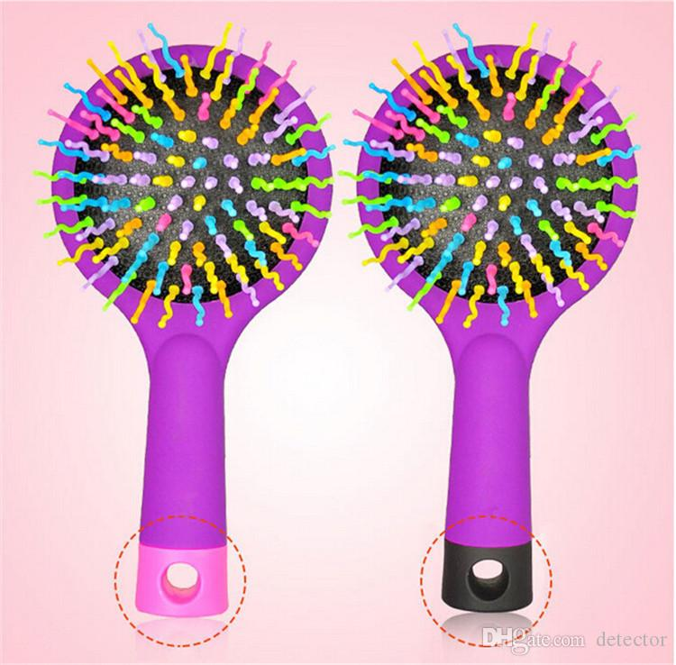 Rainbow Volume Hair Brush Multi Color Magic Hair Styling Tool Hair Brush Comb With Mirror free shipping DHL