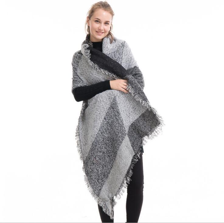 Chales de las mujeres bufanda caliente del invierno de la manera suave espesar a cuadros vestidos de lana capas de cachemira ropa para mujeres G1190