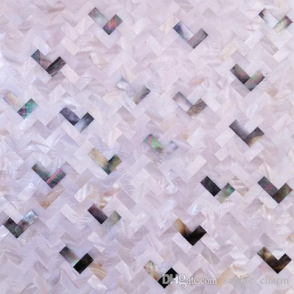 8mm thickness Mother of pearl kitchen backsplash wall tiles MOP057 white black shell mosaic bathroom tile