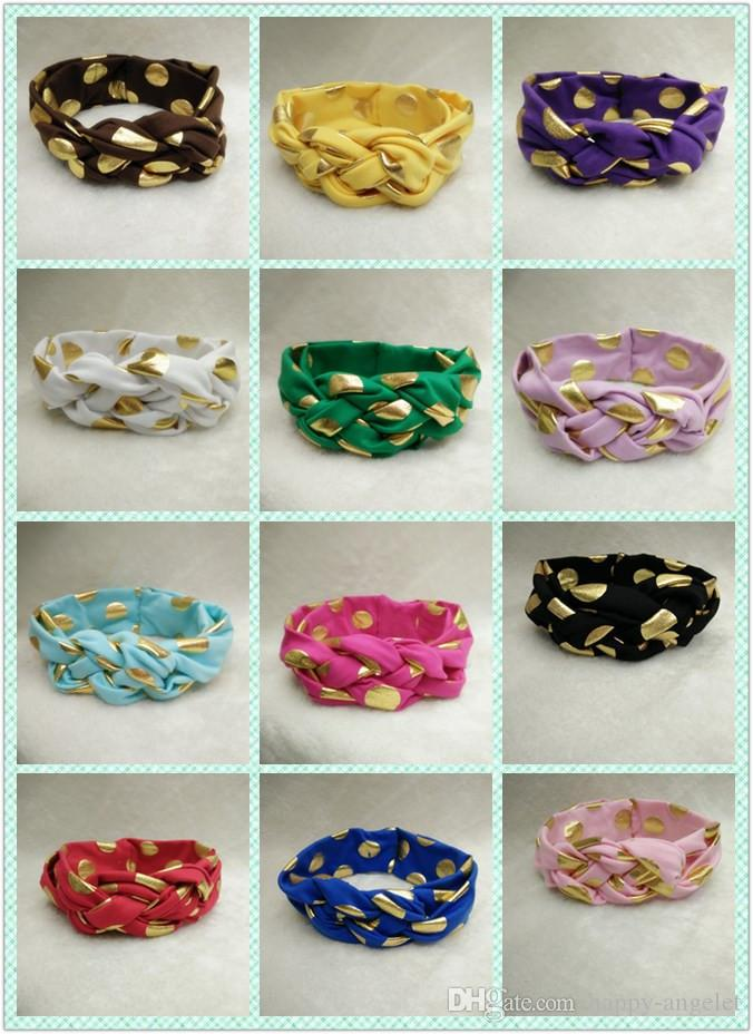 10pc baby celtic Cross knot Wave point turban headband cotton twisted head wraps girl cute Twist Knotted Hot stamping golden Wave dot FD6580
