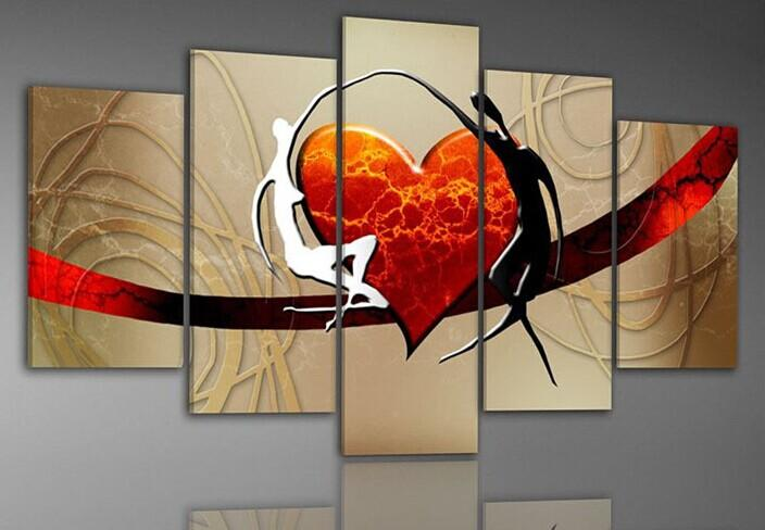 Hand Painted Love Art Painting on Canvas Red Heart Picture on Wall for Decoration or Best Gifts to Lovers