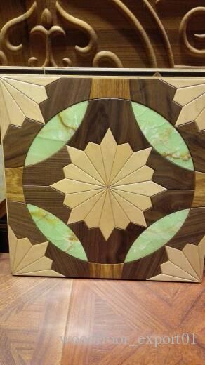 piso quadrado de mármore piso de mármore preto piso de madeira de nogueira preta Piso de madeira Piso de parquete Revestimento de madeira de medalhão de madeira