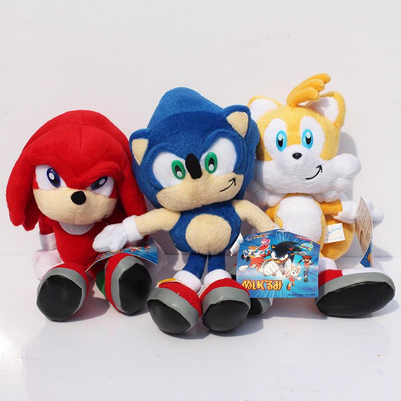 """3pcs/set New Arrival Sonic the hedgehog Sonic Tails Knuckles the Echidna Stuffed Plush Toys With Tag 9""""23cm Free Shippng"""