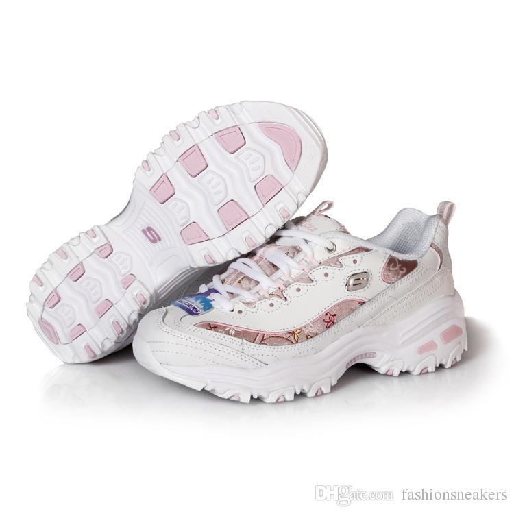 Cheap Famous Skechers Womens DLites Sneaker Increasing Height Cherry Blossoms Floral Popular Fashion Female Girls Designer Leather Shoes Leopard Print