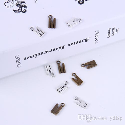 2015New fashion argento antico / rame placcato lega di metallo di vendita caldo A-Z alfabeto lettera M charms galleggiante 1000 pz / lotto # 013x