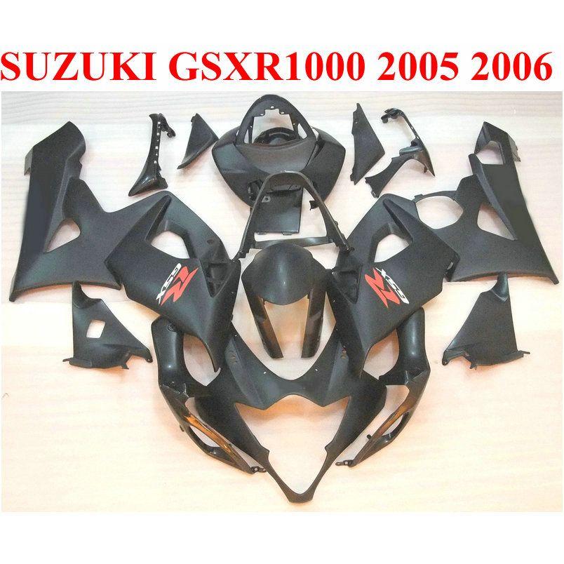 Высокое качество ABS обтекатель комплект для SUZUKI 2005 2006 GSXR1000 05 06 GSX-R1000 K5 K6 все матовый черный обтекатели набор SX18