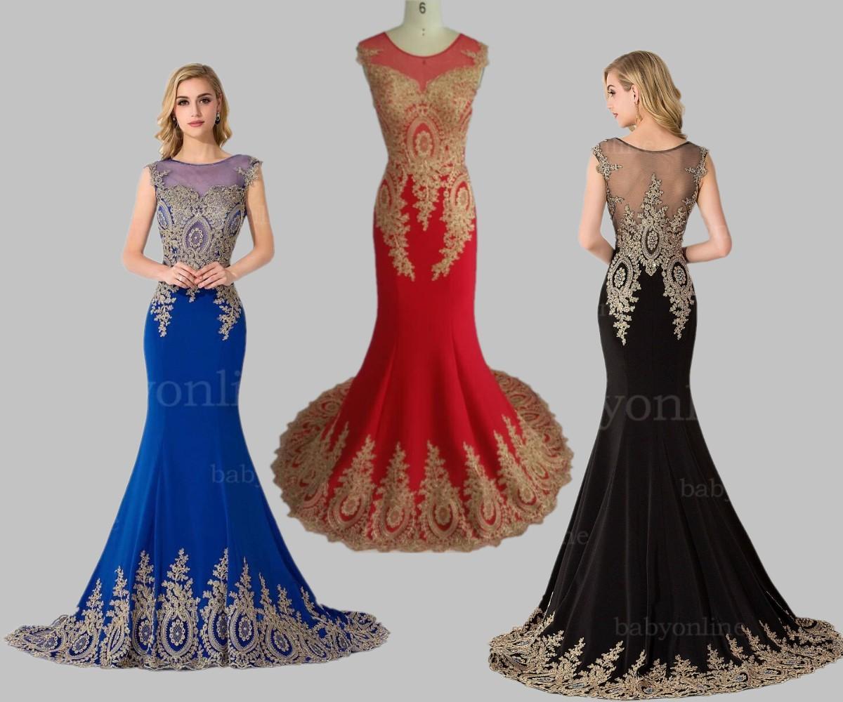 Em estoque Real Photo Vestidos de baile Sereia Gola vestidos de noite formais com apliques de renda Árabe Islâmico Islâmico Pageant Dress CPS234
