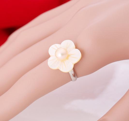 Hot sale new shell flower adjustable opening 8-9mm natural pearl earrings J005