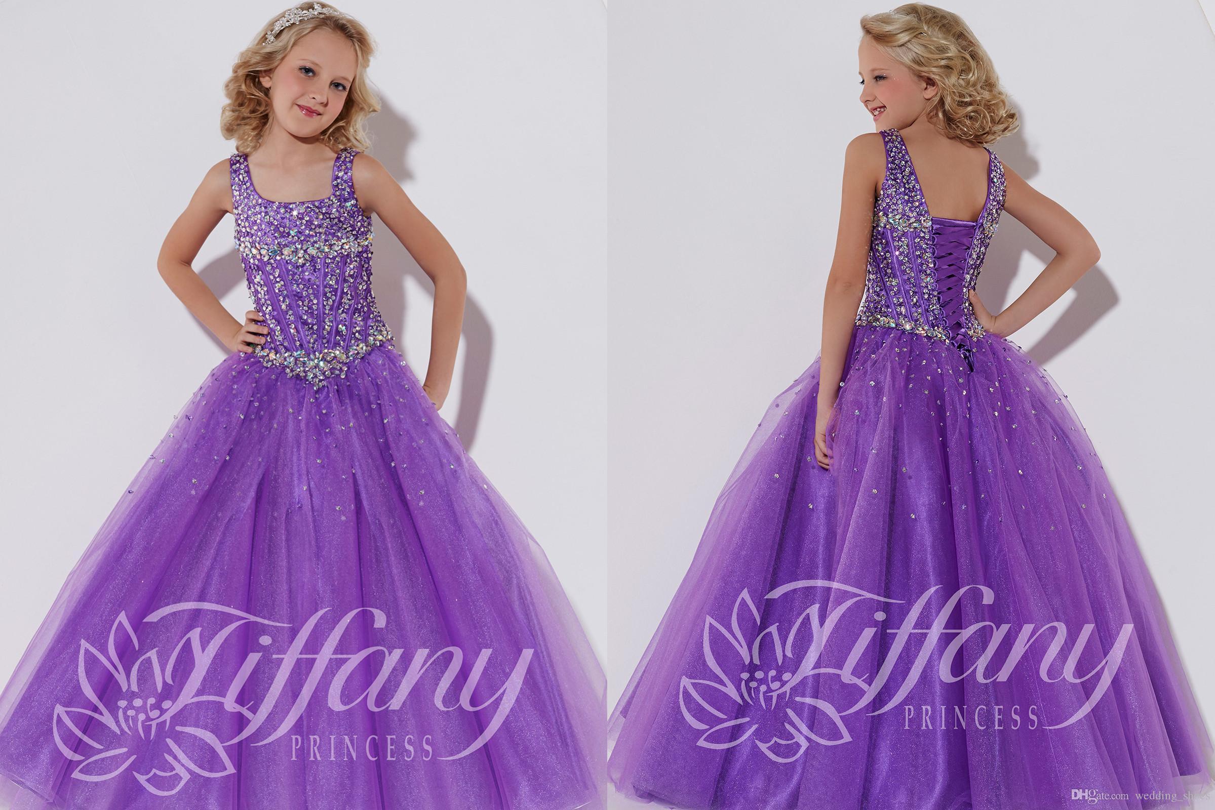 Flower Girl Dresses Purple Pageant Bridesmaid Halter Beadiing Princess Ball Gown