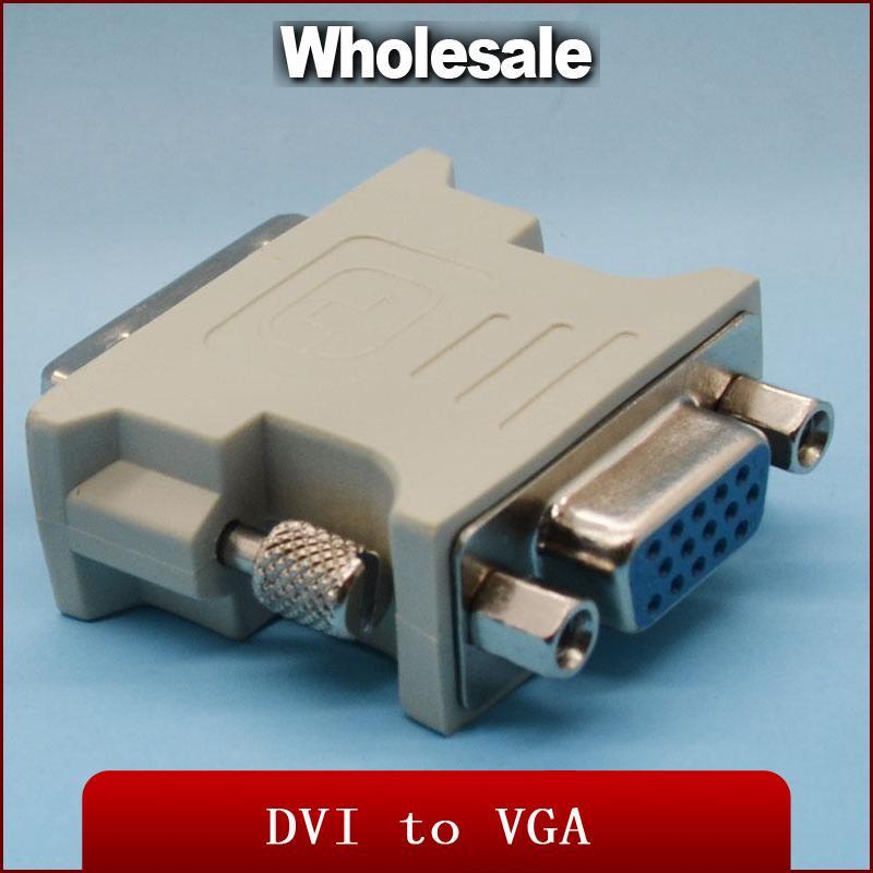 Altın kaplama DVI VGA konnektör DVI 24 1 (Çift Bağlantı) erkek VGA dişi Adaptör Dönüştürme Kablosu HDTV TV için Drop Shipping