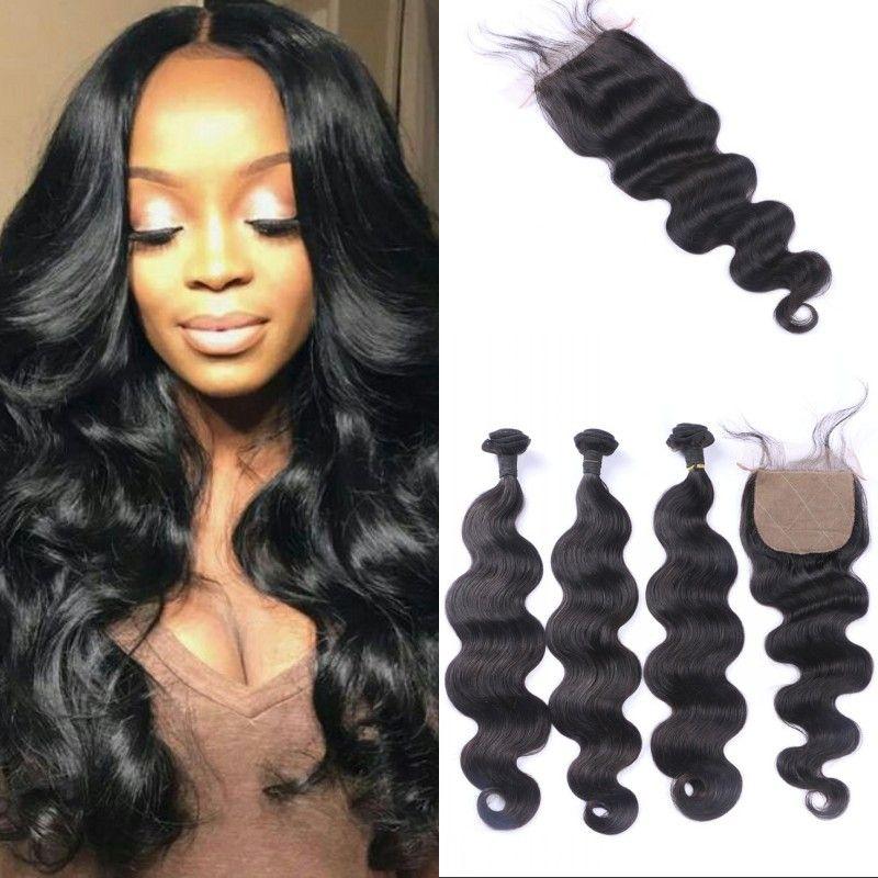 Brazilian Virgin Human Hair 4x4 Silk Base Closure with Bundles Body Wave Hair Weaves Closure Natural Color FDSHINE