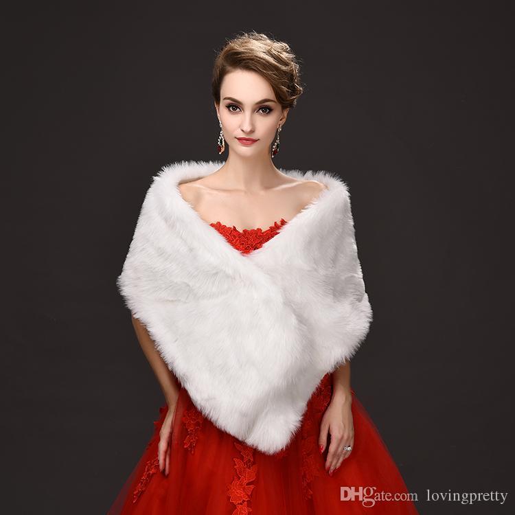 Jane Vini 2018 Winter Faux Fur Wraps e scialli per la cerimonia nuziale Bianco da sposa caldo donna Fake Fur Girls lungo Boleros Jacket Stole Capes