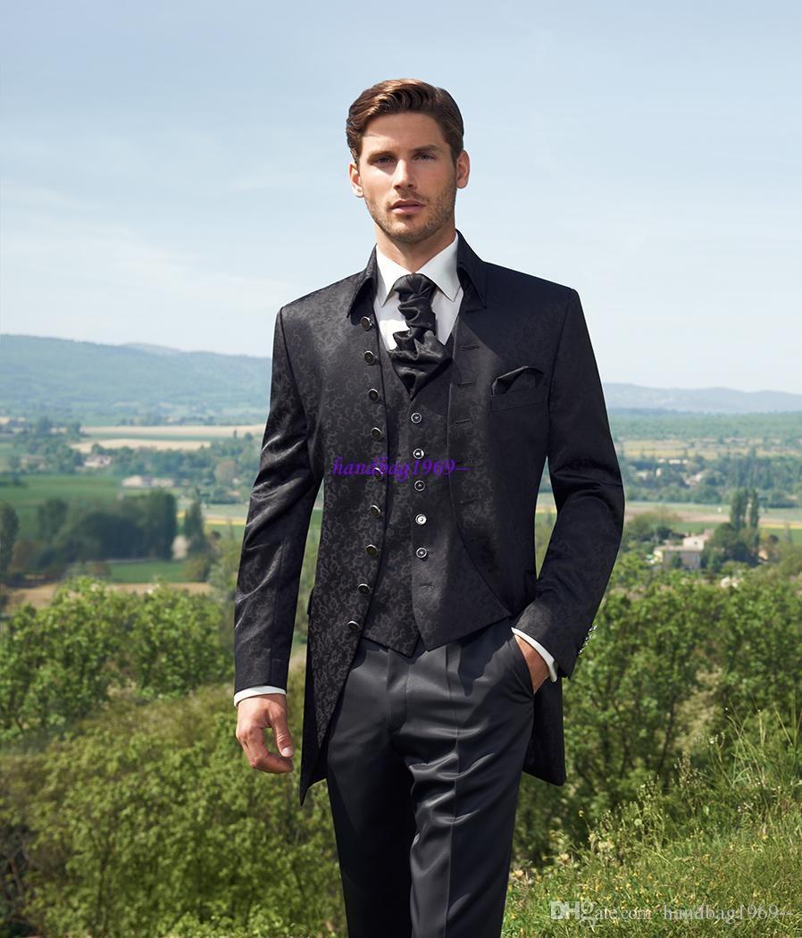 2016 Classic Design Black Pattern Groom Tuxedos Groomaman Blazer Man Normal Business Suits (Jacket+Pants+Vest+tie) NO:1142