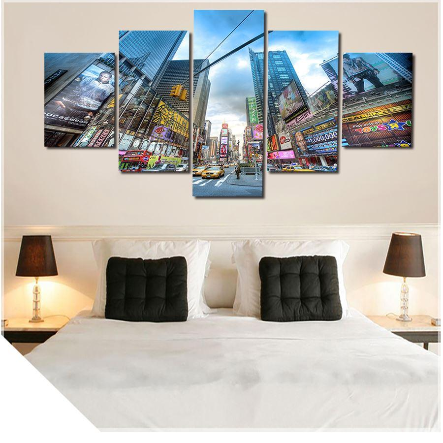 2016 New Hot 5 Pcs City Large Canvas Print Painting for Living Room, Wall Art Picture Gift,Decoration Home Picture Unframed