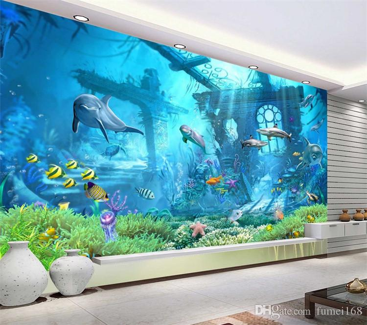 3D Embossed Sea World Fish Photo Wallpapers Murals Wall Paper for Kids Bedroom Living Room Wall Art Decor Minion Wallpaper