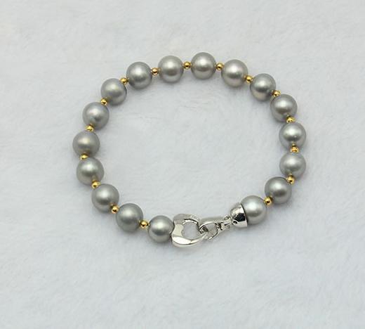 Wholesale beautiful Natural gray 8-9mm pearl bracelet perfect circle SL033004