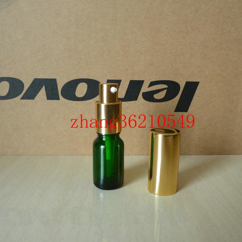 10ml 녹색 유리 로션 병 알루미늄 반짝 이는 골드 pump.for 로션과 에센셜 오일. 로션 크림 용기