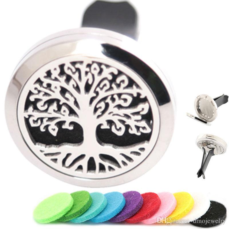 Aromatherapy Essential Oil surgical 30mm Stainless Steel Pendant Perfume Diffuser Car Trees of Life Locket Include 50pcs Felt Pads