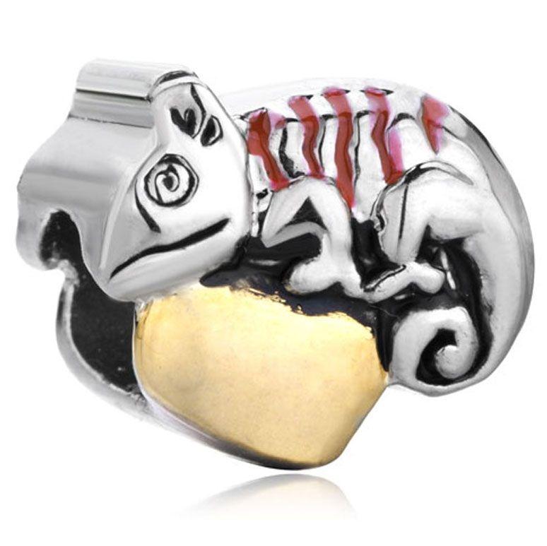 Сердце хамелеон очарование животных шарик в серебряный и золотой цвет покрытия европейский шарм Fit Pandora браслет